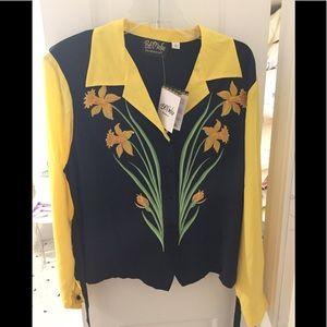Bob Mackie blouse with daffodils